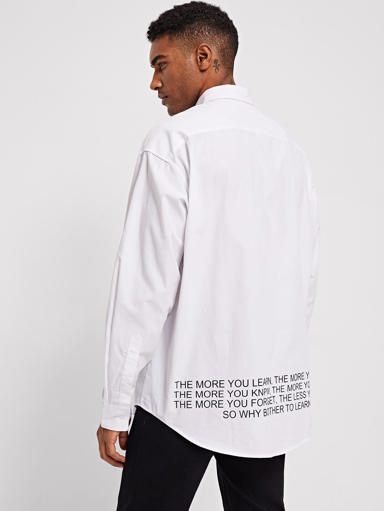 Купить Мужская рубашка с текстовым принтом и изогнутым краем, Johnn Silva, SheIn
