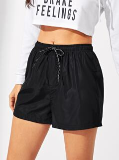 Elastic Waist Drawstring Solid Shorts