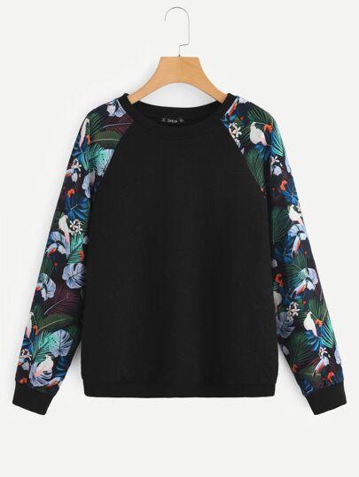 49bf3a6949b10 Sweat-shirt texturé à manches raglan avec imprimé tropical | SHEIN