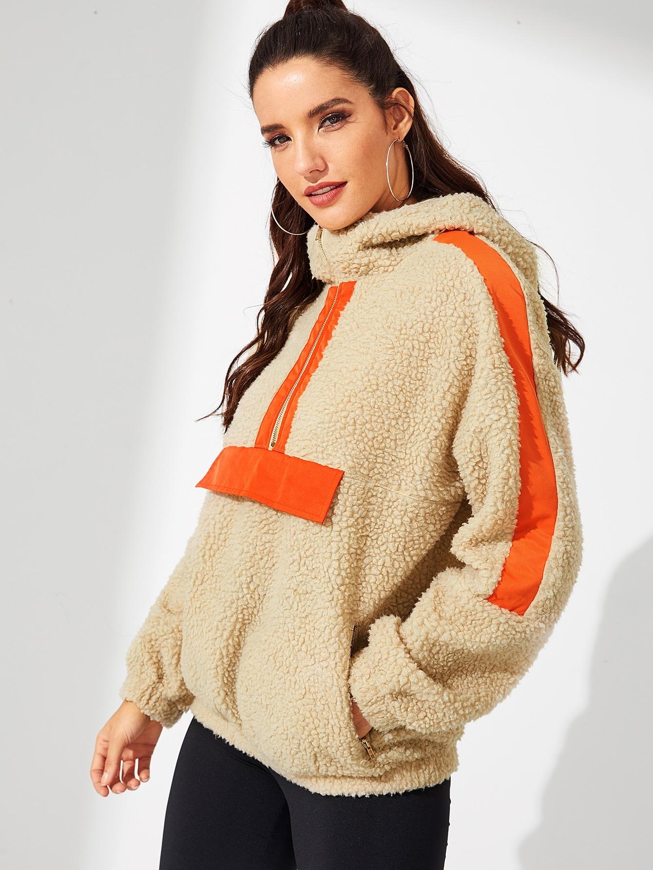 Фото - Контрастный тедди пуловер на молнии от SheIn цвет серебрый