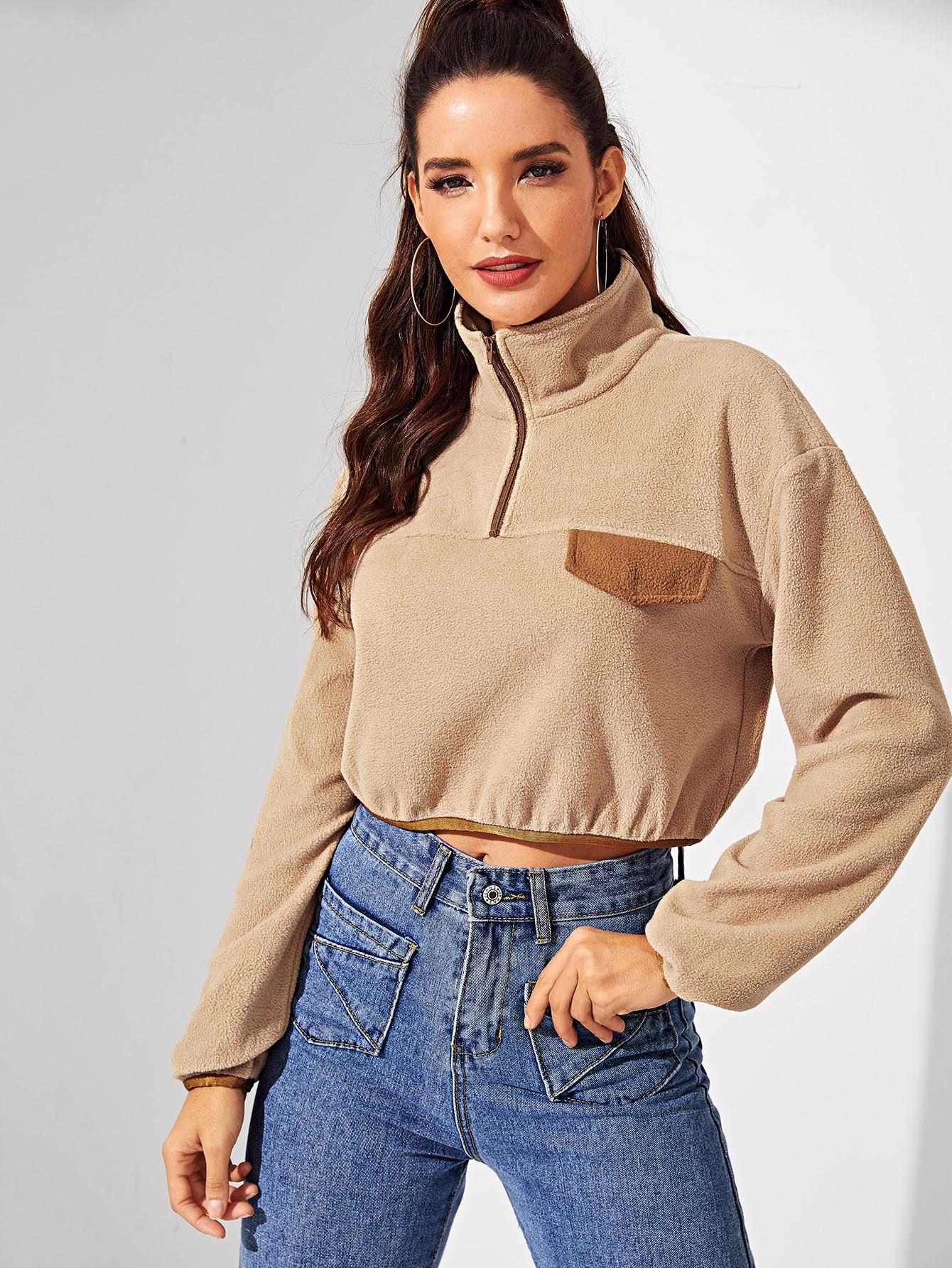 Фото - Тедди пуловер на молнии с высоким вырезом от SheIn цвет коричневая