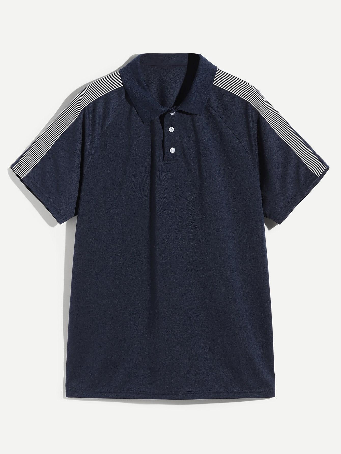 Купить Мужская контрастная поло рубашка, null, SheIn