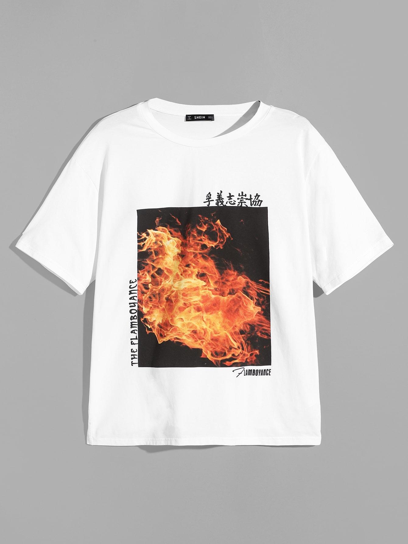 Купить Мужская футболка со смешанным принтом, null, SheIn