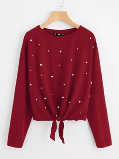 Pearl Beaded Knot Front Tee