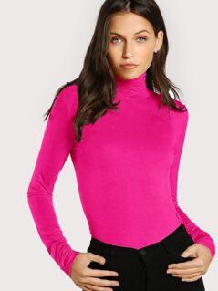 Neon Pink High Neck Glitter Tee
