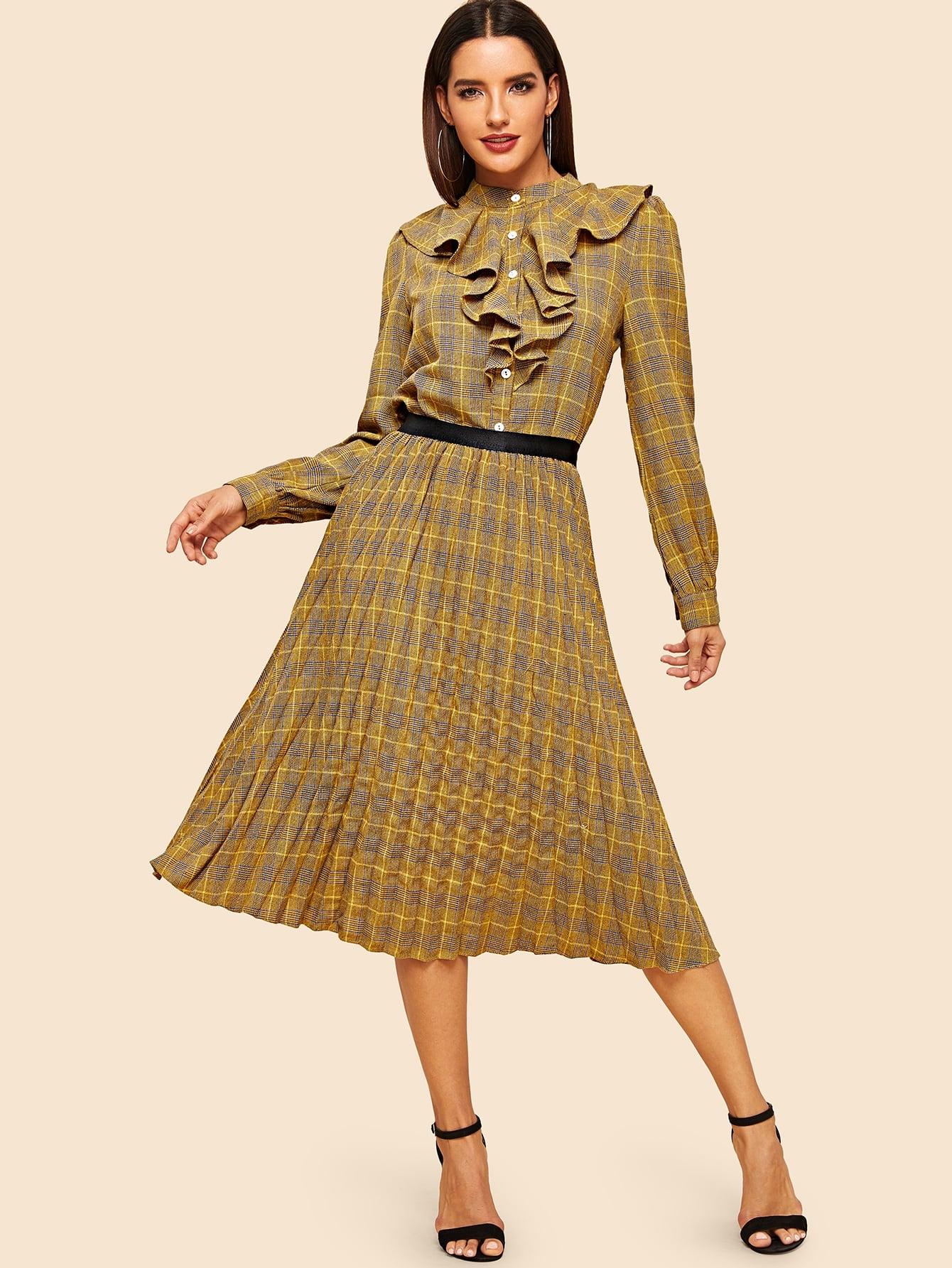 Фото - Рубашку в клетку с оборками и юбка со складками комплект от SheIn цвет многоцветный