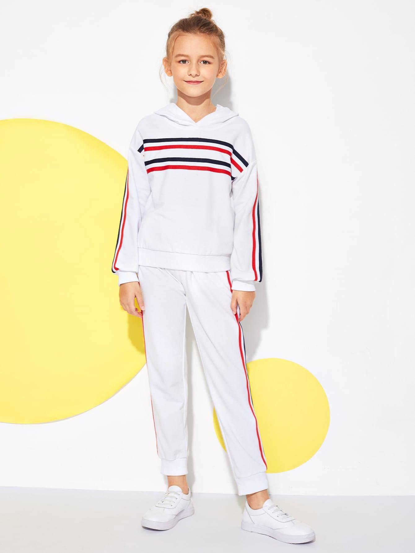 Купить Топ с полосатым низом и брюки комплект для девочек, Sashab, SheIn