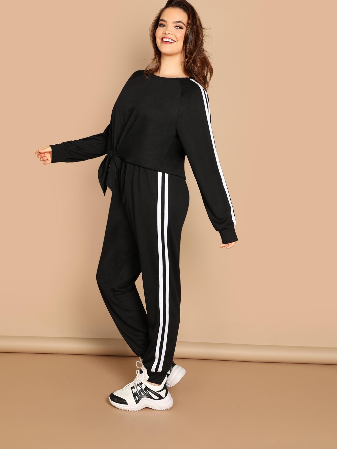 Купить Пуловер в полоску сбоку и брюки комплект размера плюс, Faith Bowman, SheIn