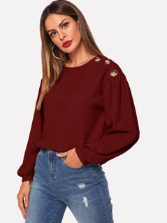 Button Front Solid Top