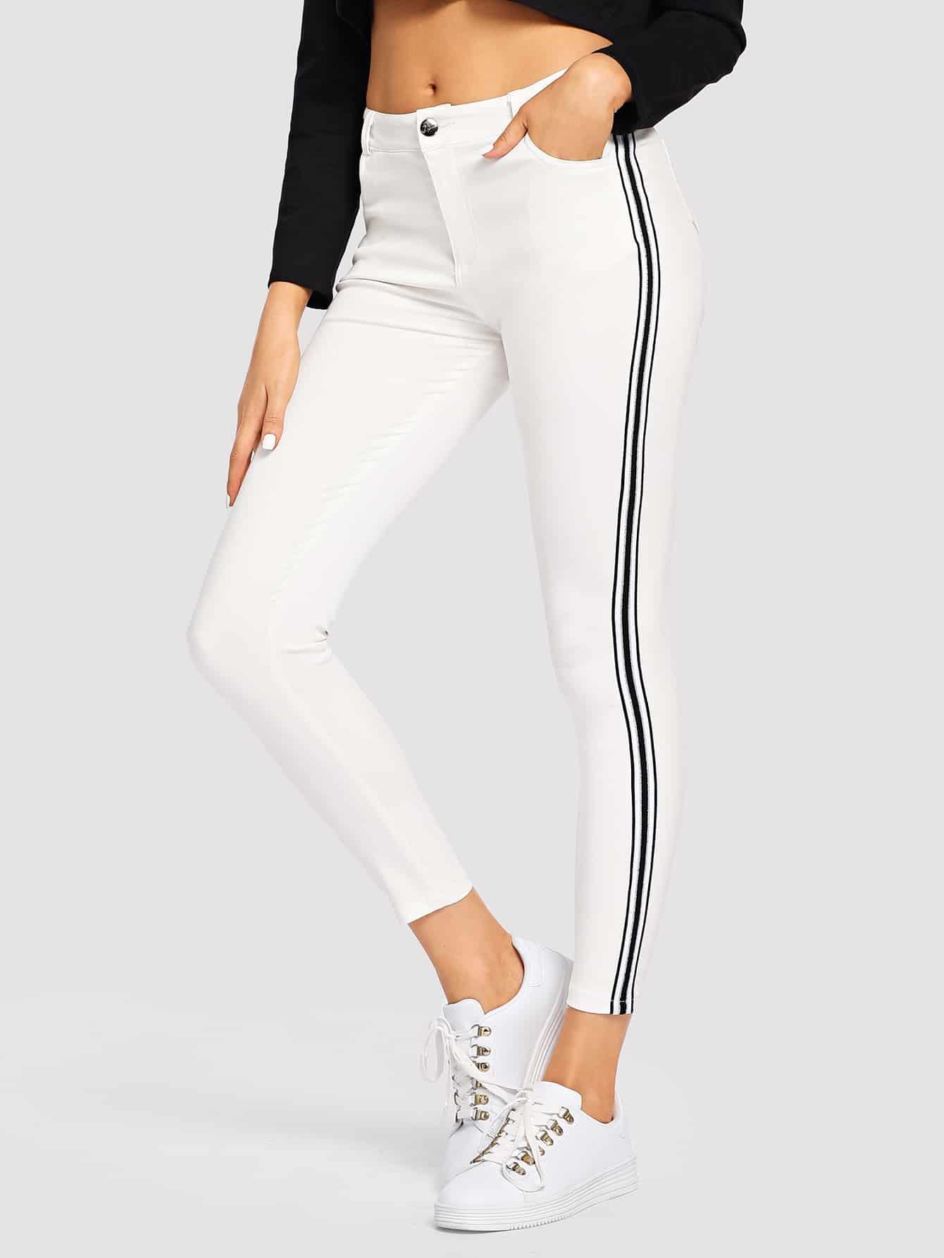 Купить Контрастные кроп обтягивающие джинсы в полоску, Sasa, SheIn