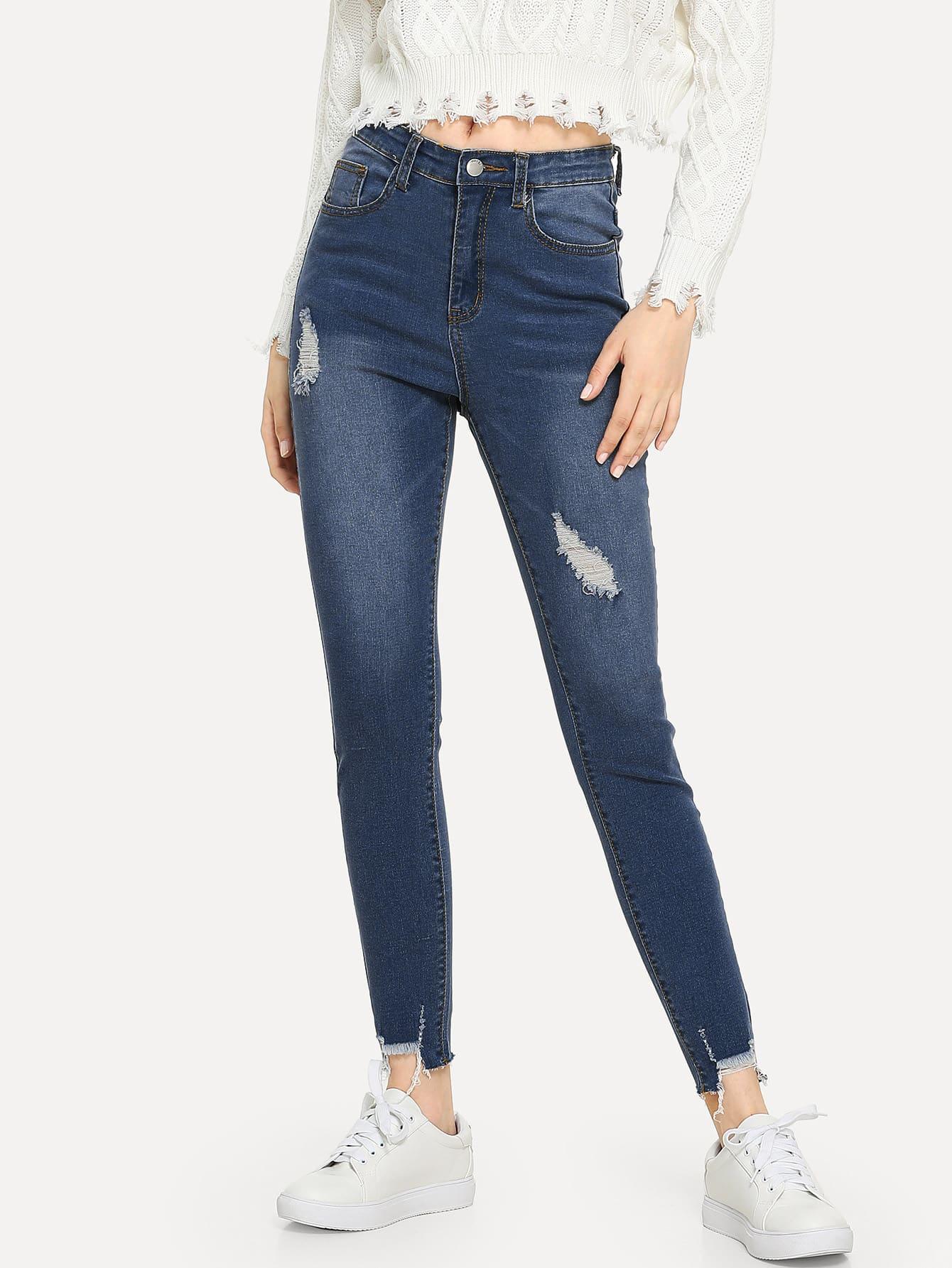 Купить Рваные джинсы с необработанным краем, Jana, SheIn
