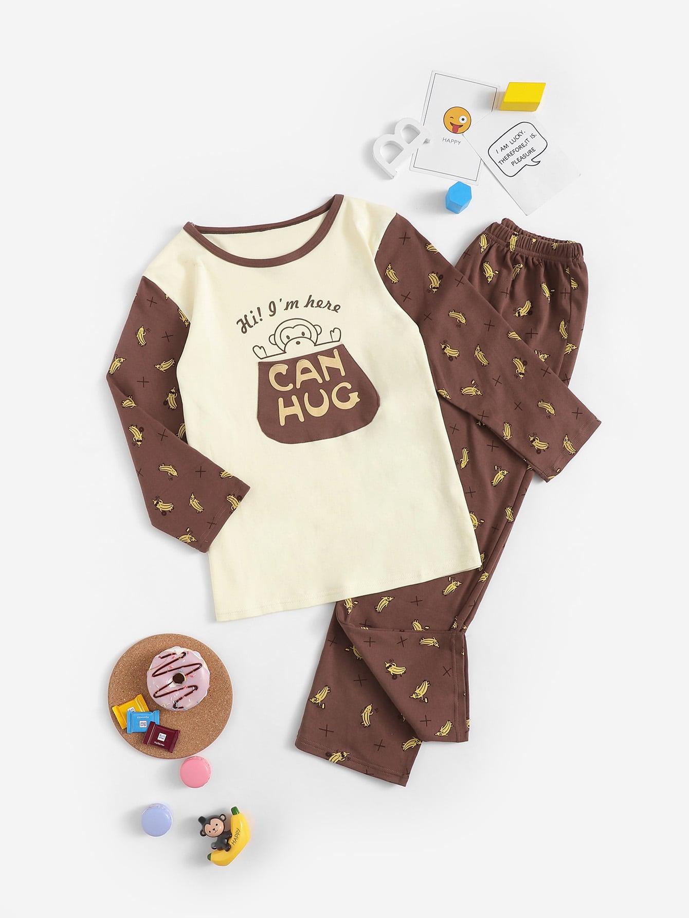 Пижама с принтом обезьяны и банана для девочек от SheIn