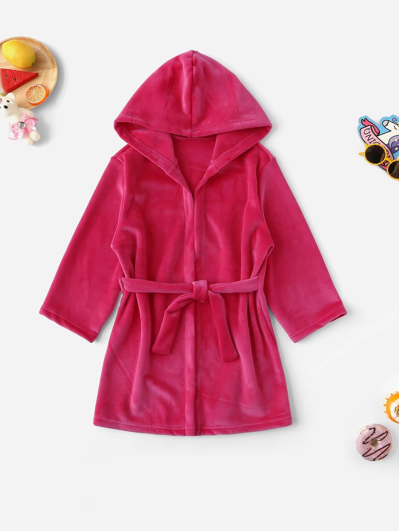 Пушистый домашний халат с капюшоном и поясом для девочек от SheIn