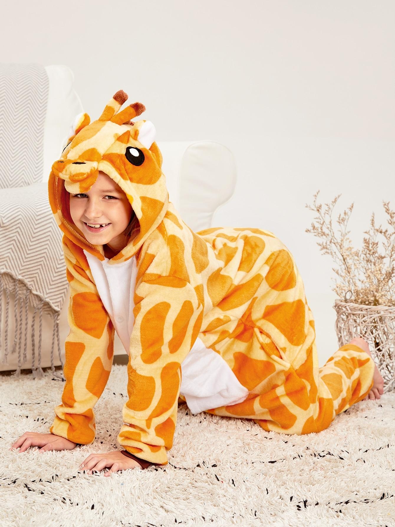 Пушистая пижама в форме жирафы для девочек от SheIn