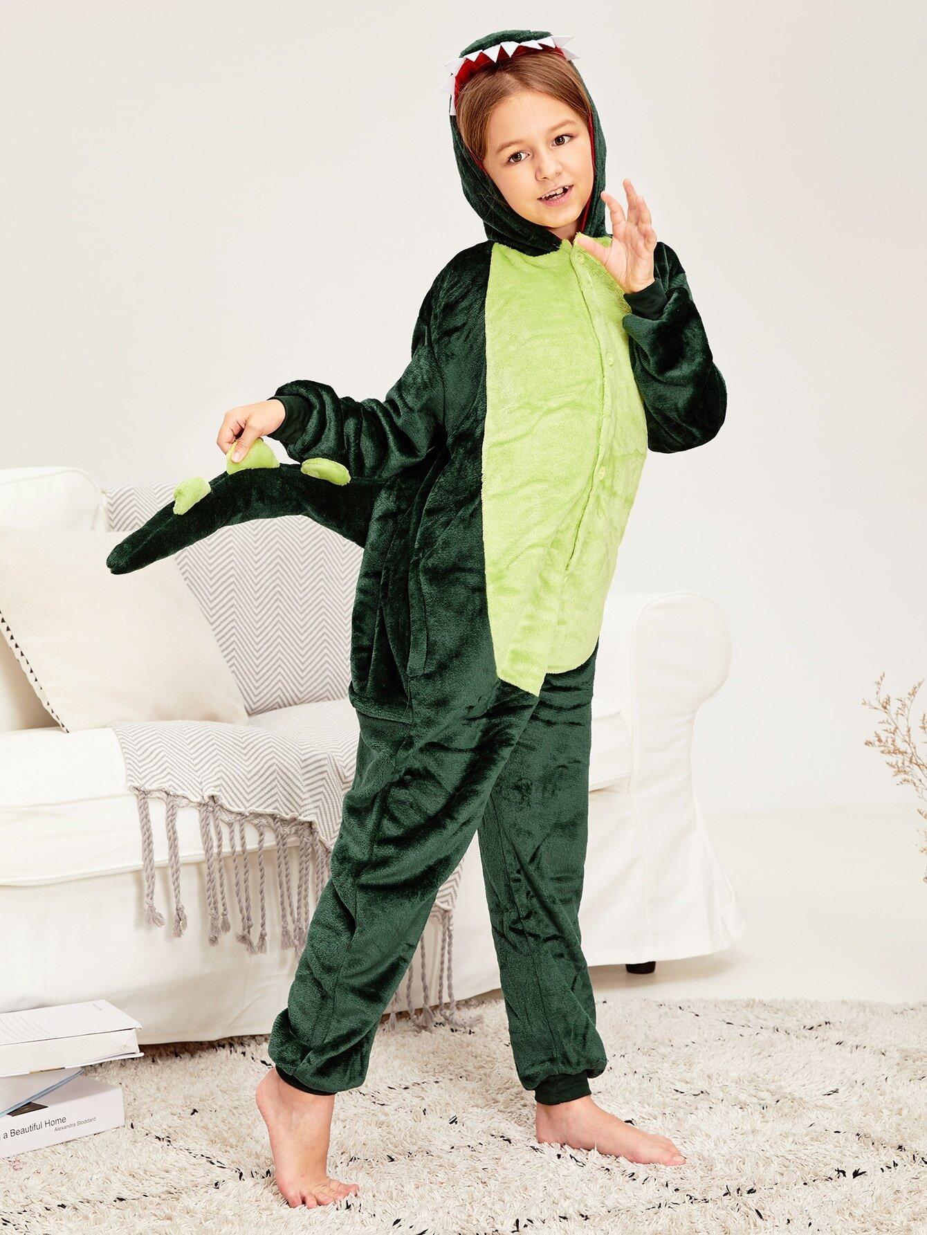 Пушистая пижама в форме диназавра для девочек от SheIn