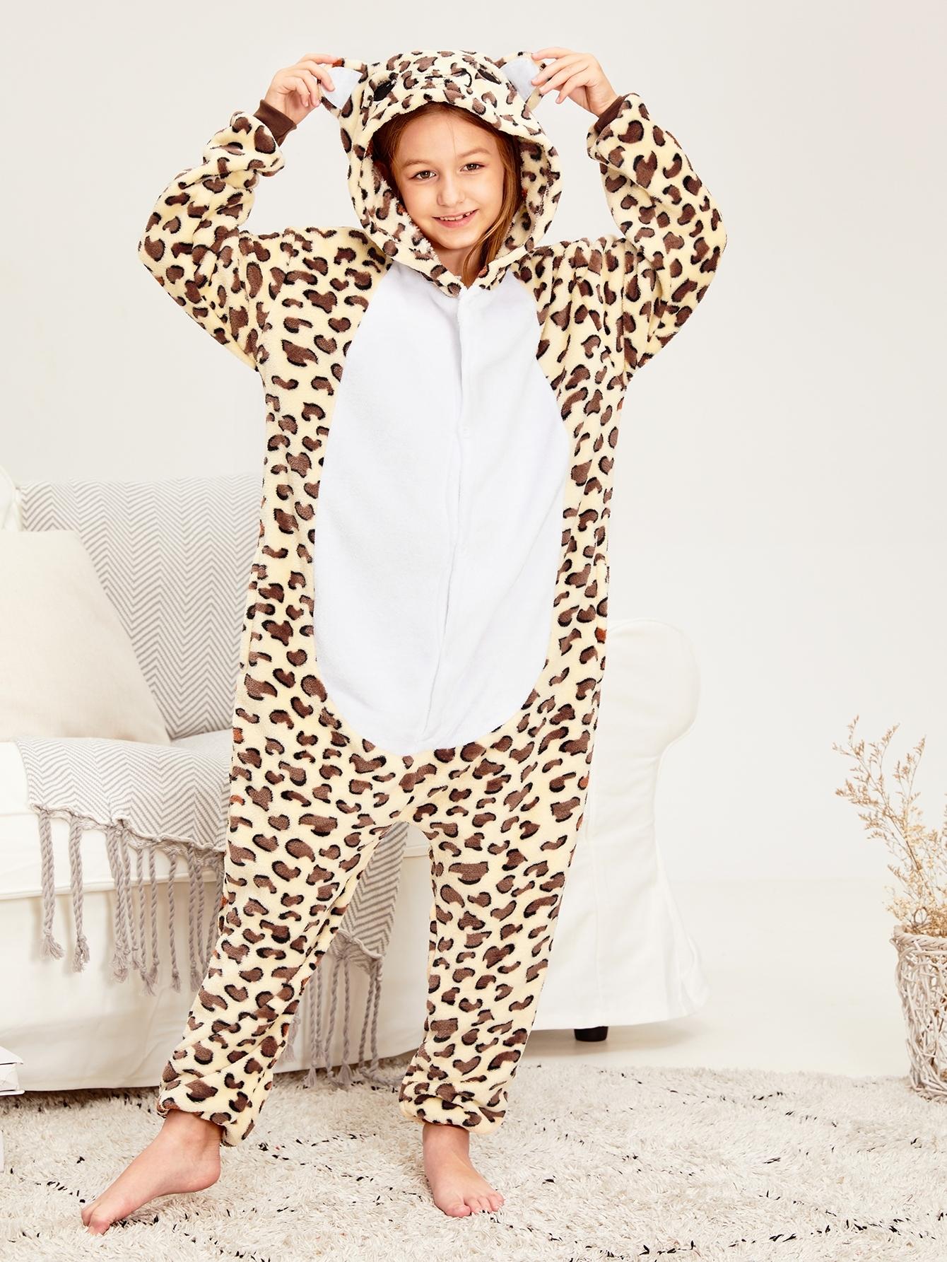 Пушистая леопардовая пижама для девочек от SheIn