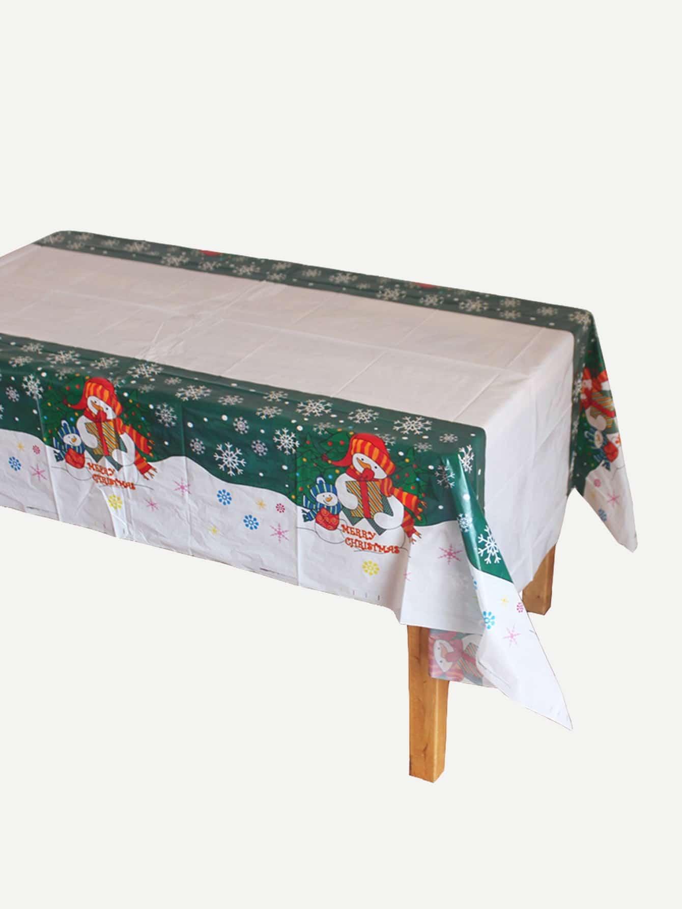 Купить Одноразовая скатерть с принтом рождественского снеговика, null, SheIn