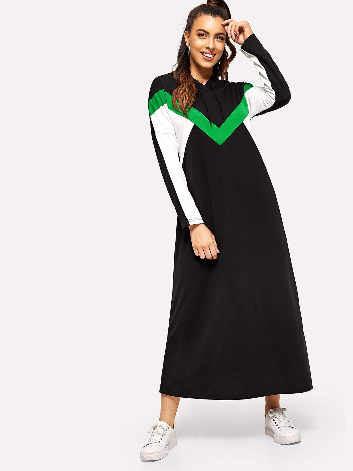 Купить Контрастное длинное платье-свитшот с капюшоном и кулиской, Dani, SheIn