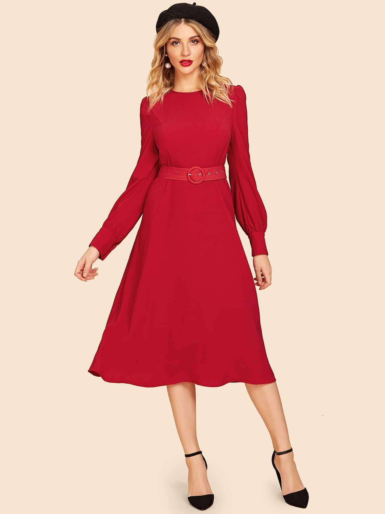 Купить Платье-клёш с поясом с длинным рукавом, null, SheIn