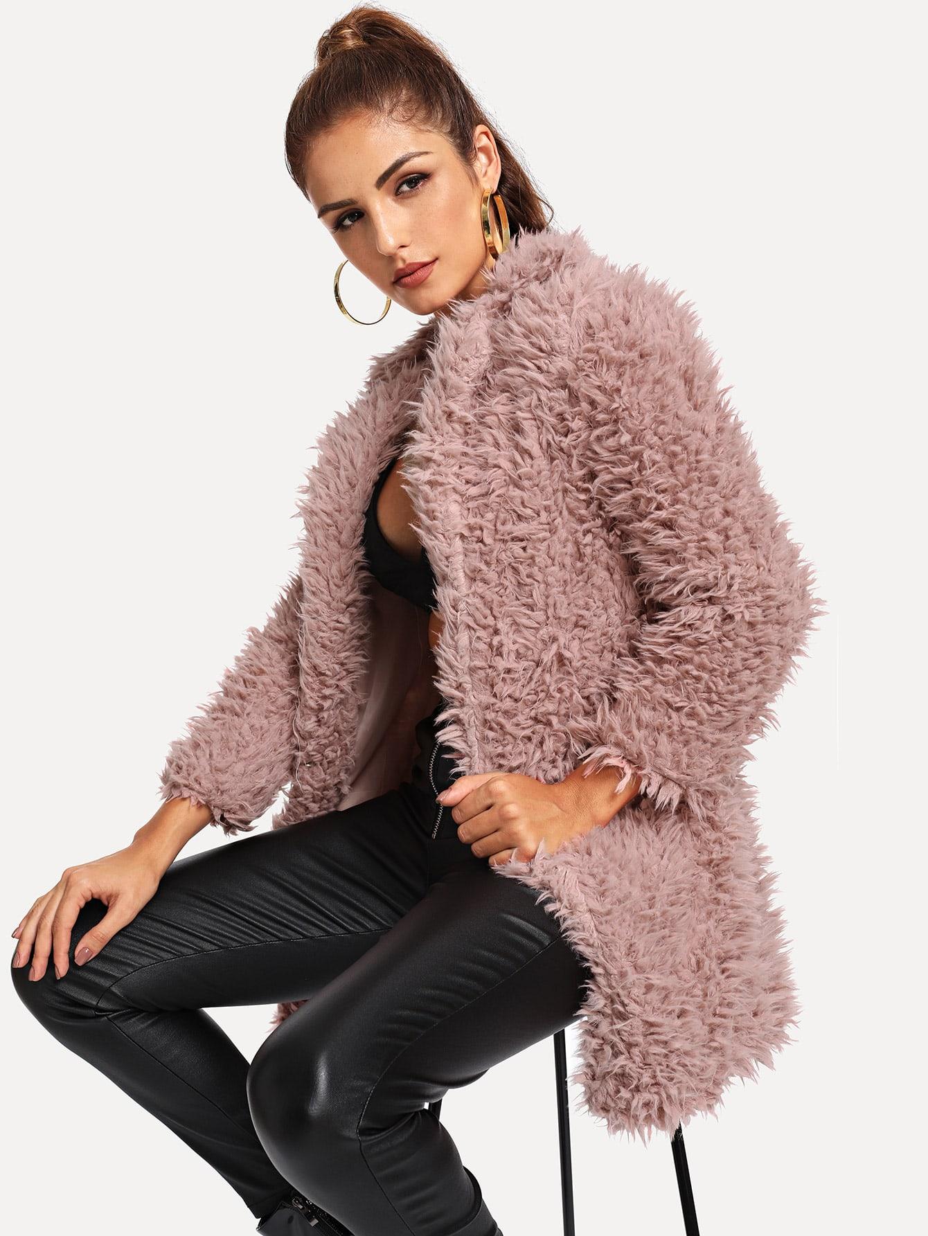 Купить Открытое однотонное пальто с капюшоном, Lisa A, SheIn