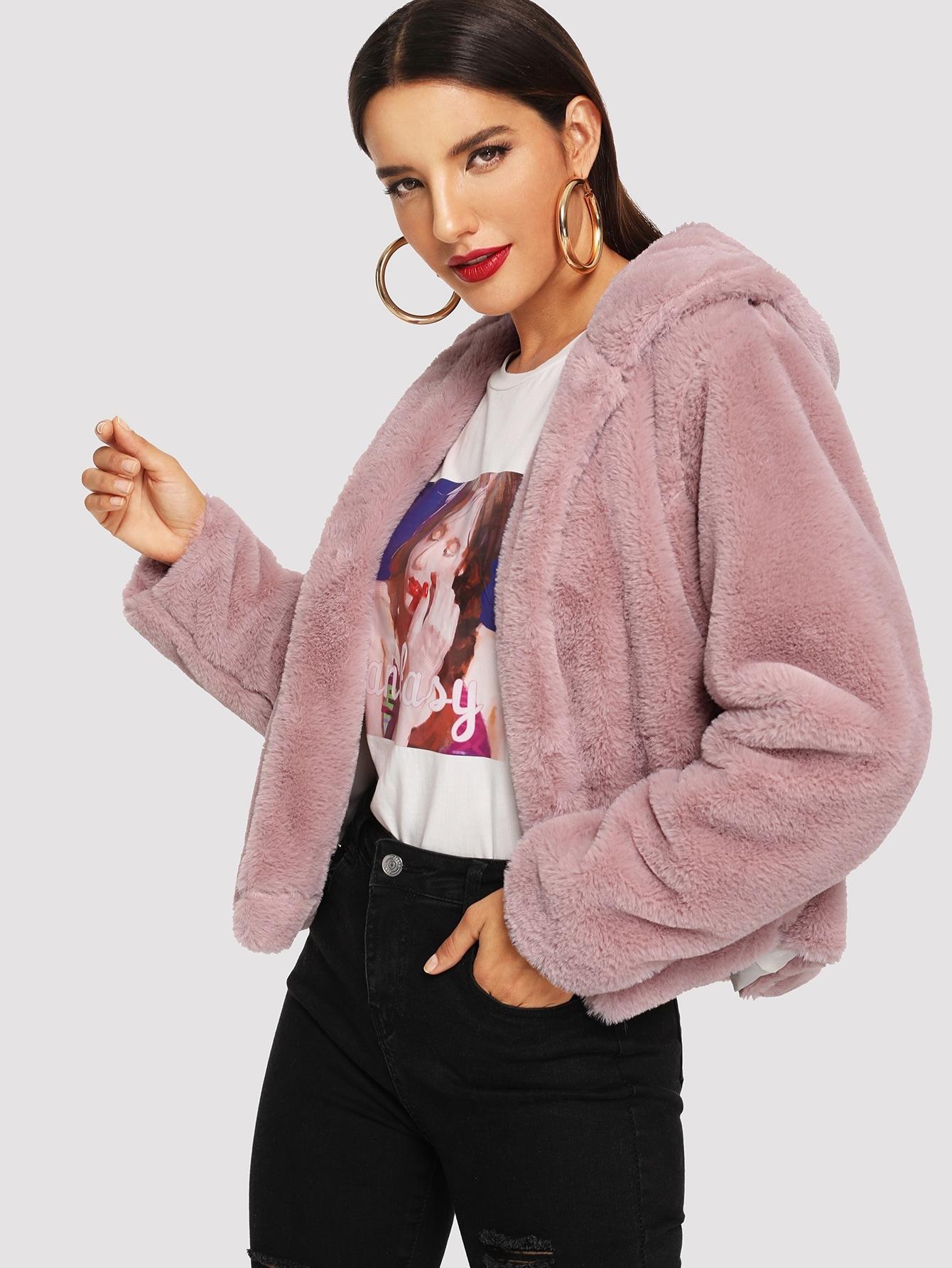 Купить Открытое однотонное пушистое пальто с капюшоном, Juliana, SheIn