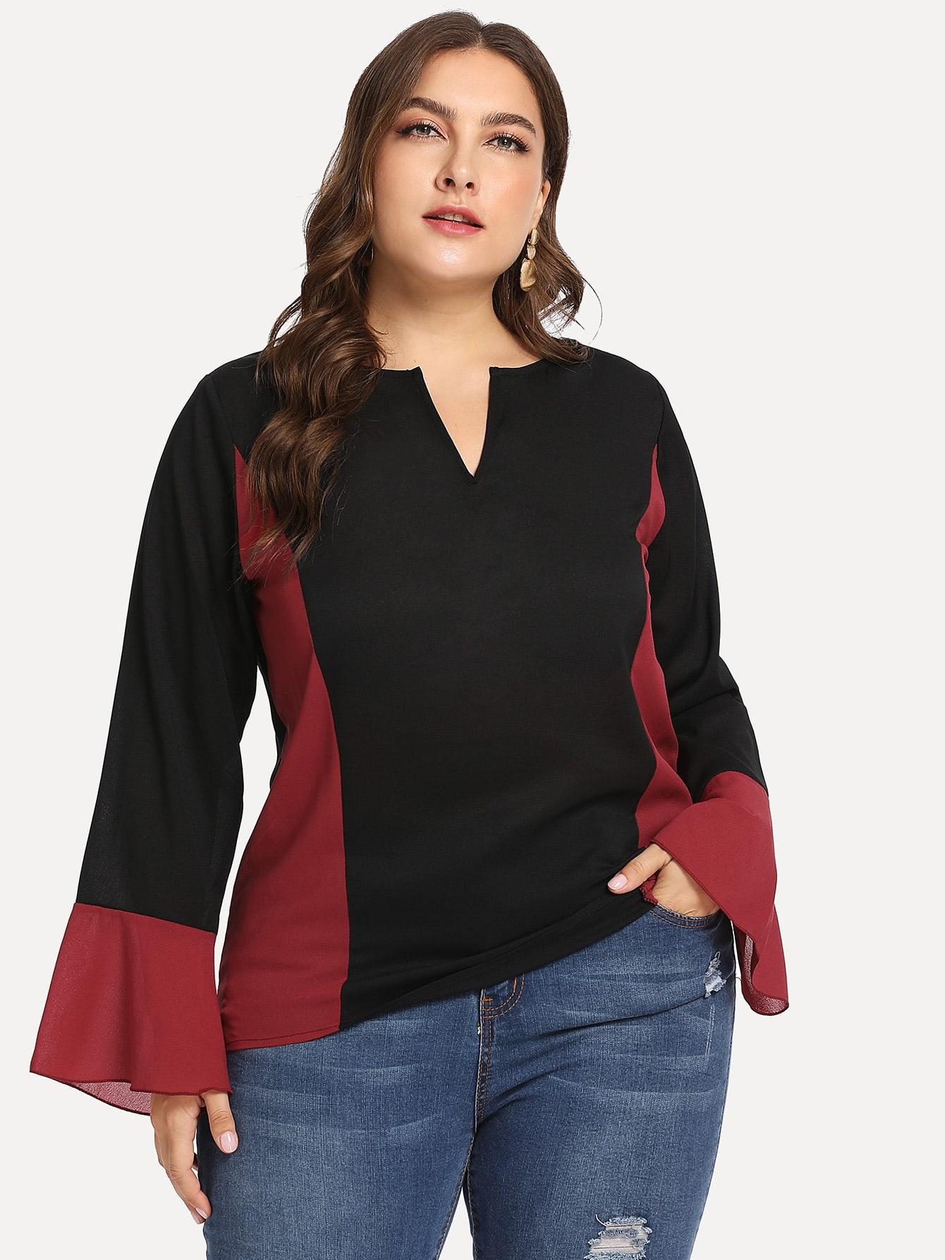 Купить Размера плюс контрастная блузка с оригинальным рукавом, Franziska, SheIn