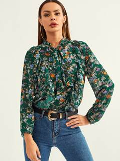 Ruffle Detail Tie Neck Floral Top