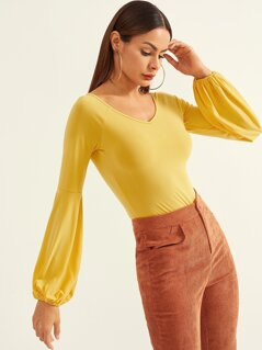 Bishop Sleeve Solid Bodysuit