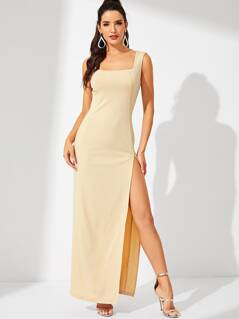 Square Neck Split Dress