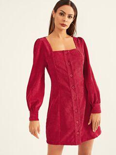 Square Neck Button Up Corduroy Dress