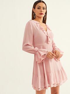 Tie Neck Lace Trim Ruffle Dress