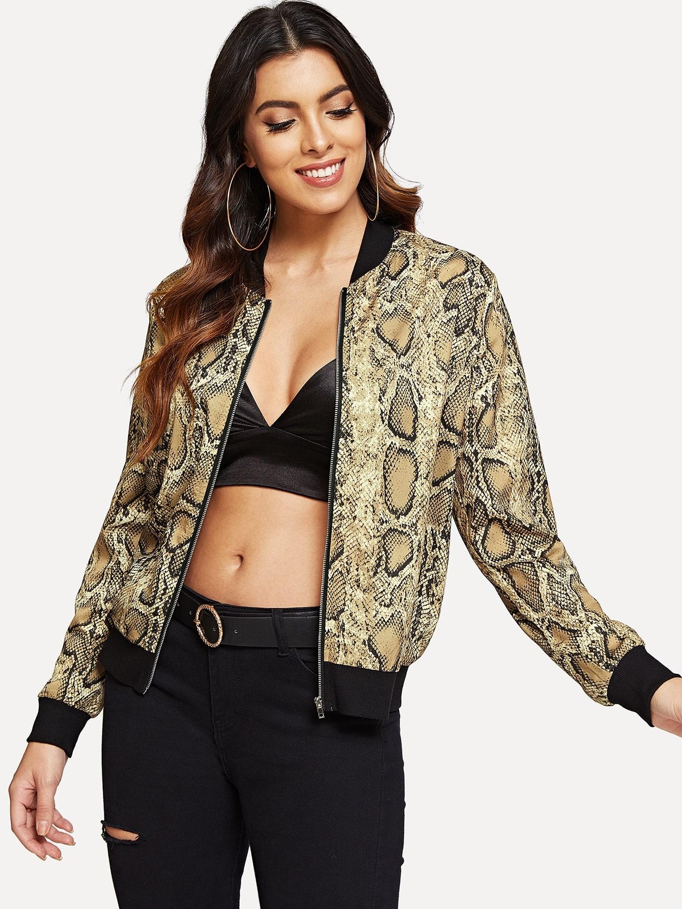 Купить Куртка на молнии с принтом змеиной кожи, DANI A, SheIn