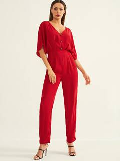 Batwing Sleeve Cut Out Front Jumpsuit