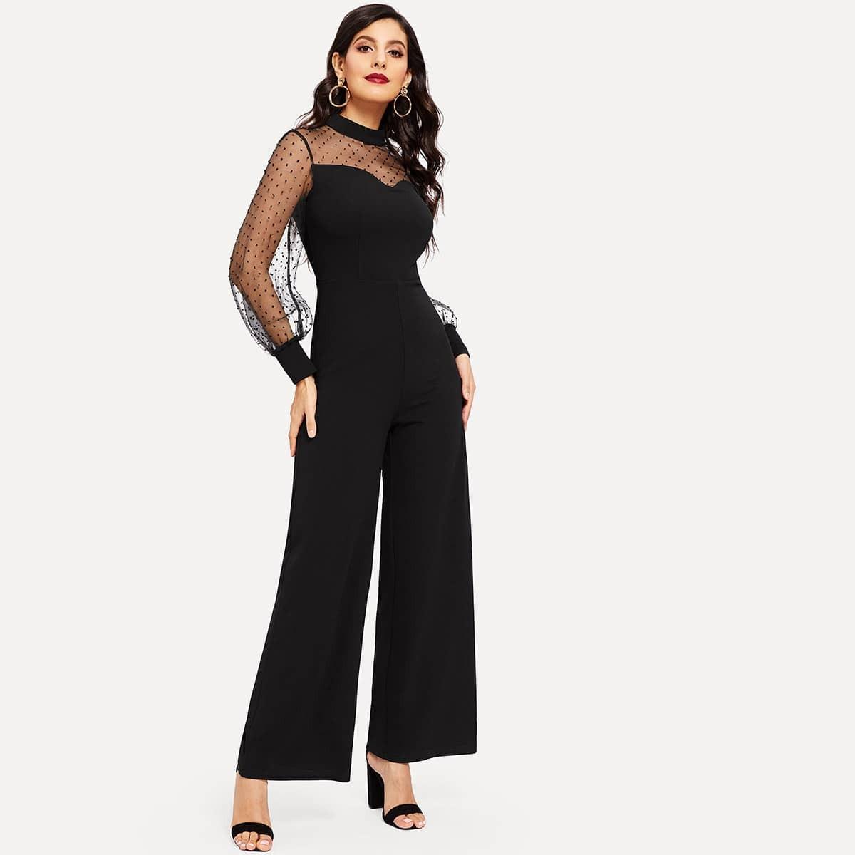 SHEIN / Culotte Jumpsuit mit Punkten Muster und Netzstoff Ärmeln