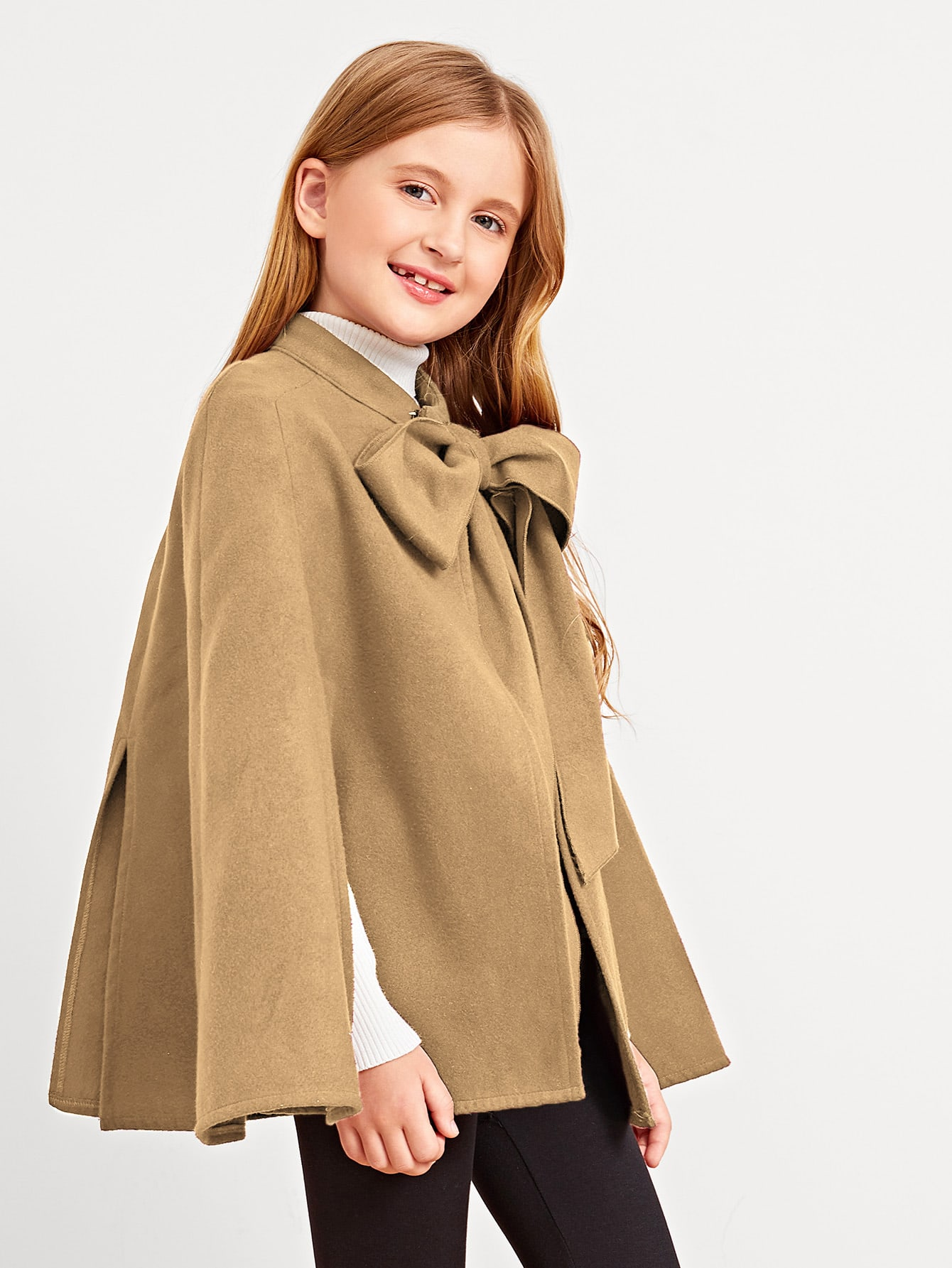 Купить Пальто-пончо с завязкой на шее для девочек, Dariab, SheIn