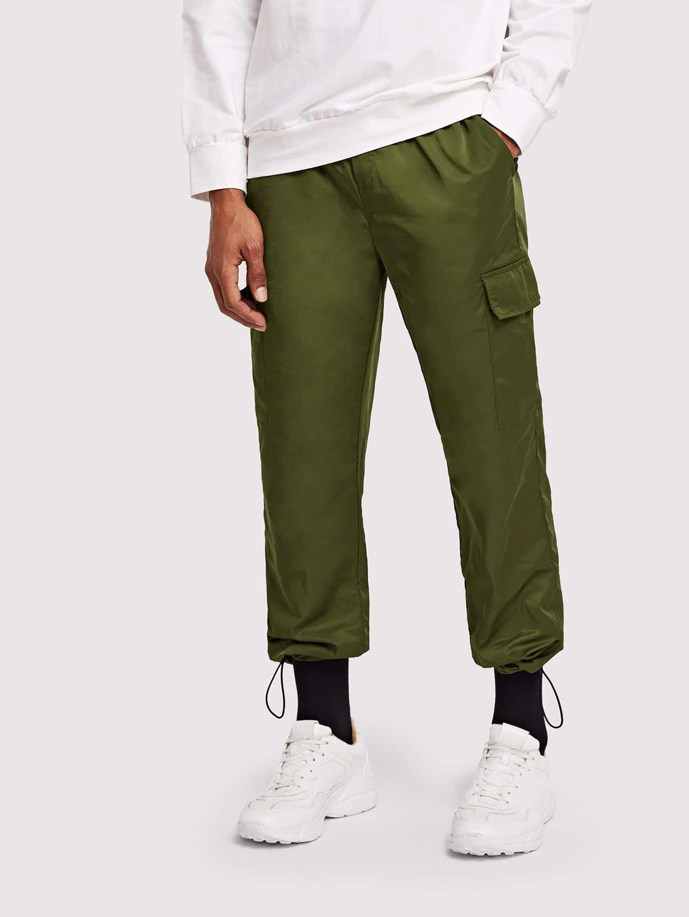 Купить Для мужчин одноцветные брюки с кулиской, Johnn Silva, SheIn