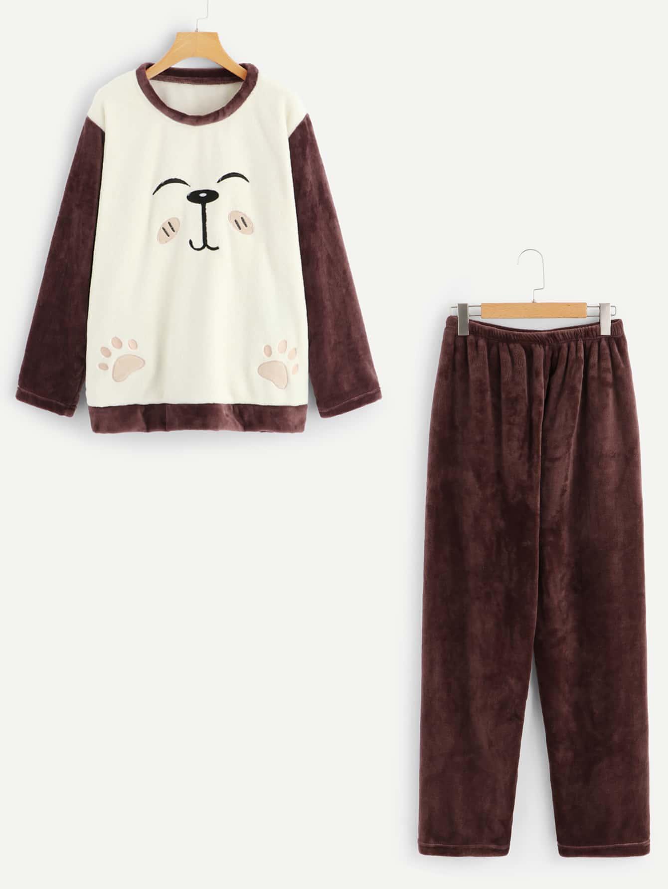 Купить Мужская пушистая пижама с вышитым графическим пижама, null, SheIn