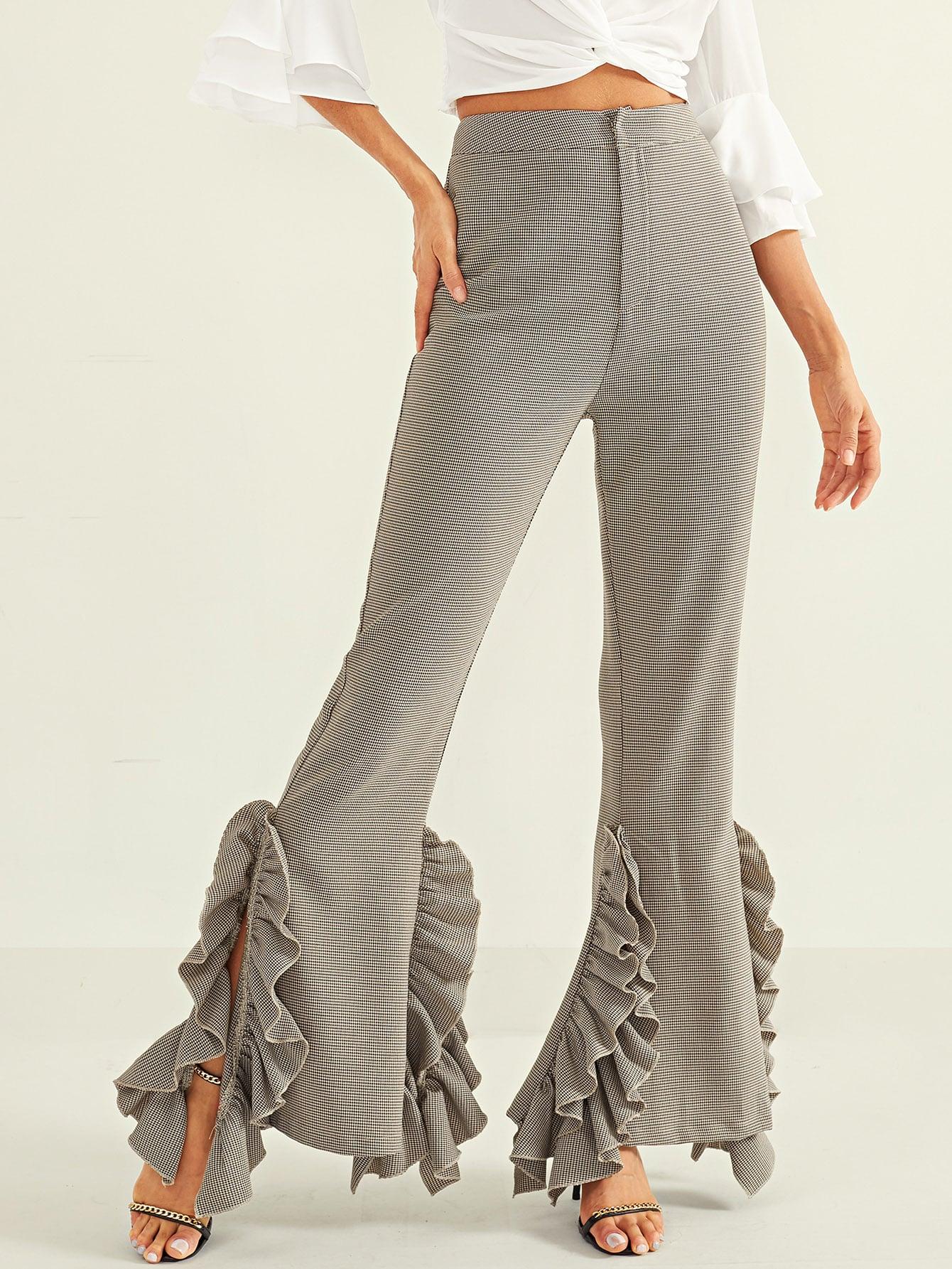 Расклешенные брюки в гусиную лапку с оборками SheIn