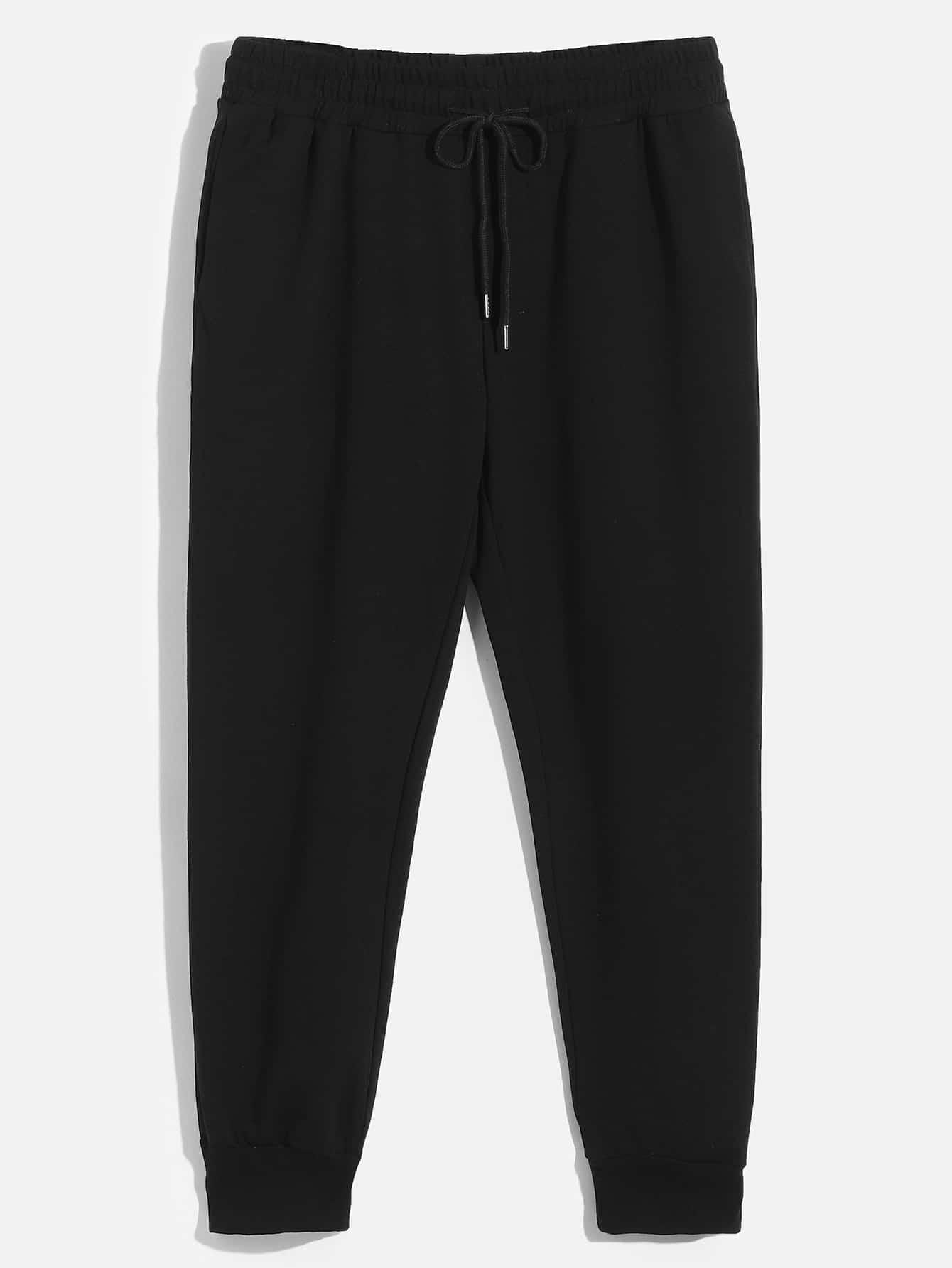 Купить Мужские однотонные спортивные брюки с кулиской, null, SheIn