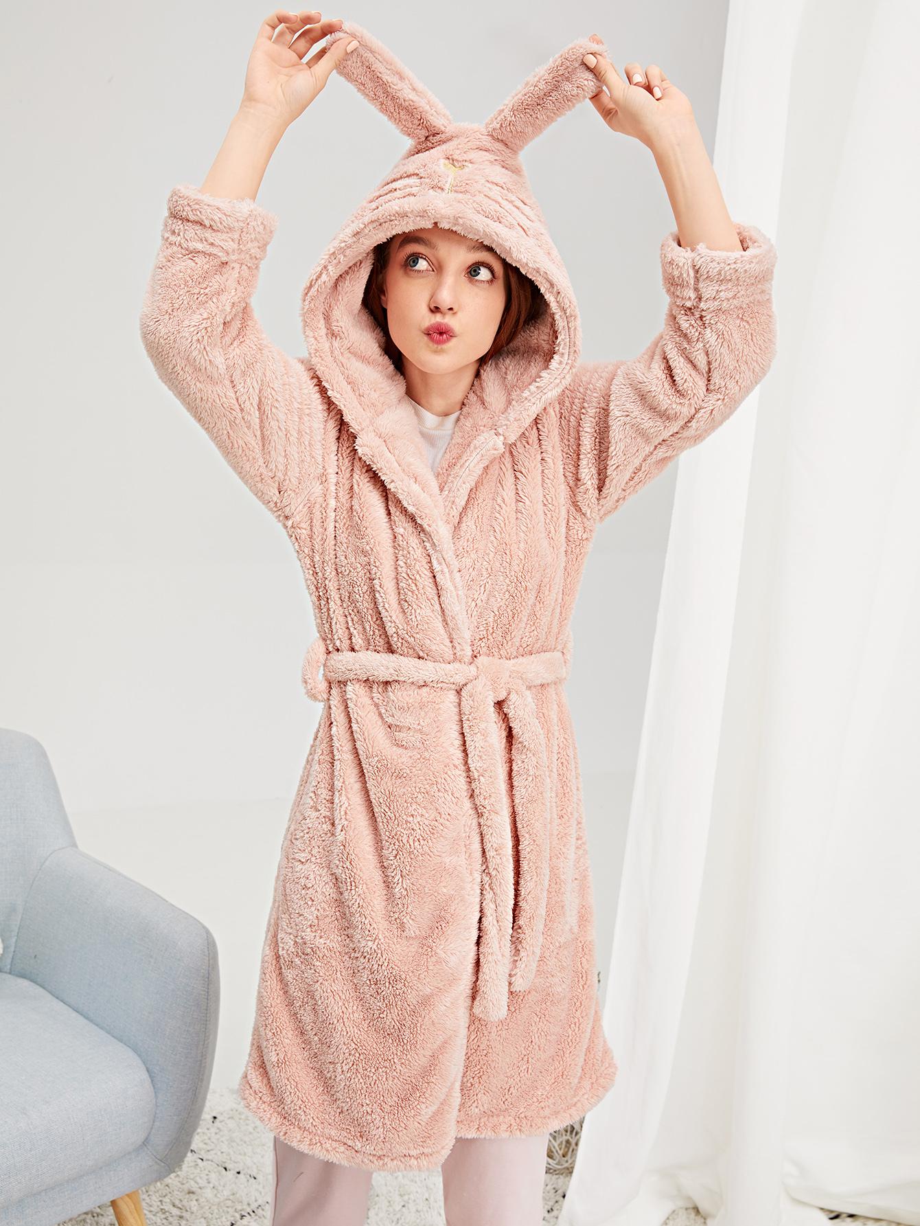 Купить Пушистый домашний халат с поясом и принтом вышитого кота, Poly, SheIn