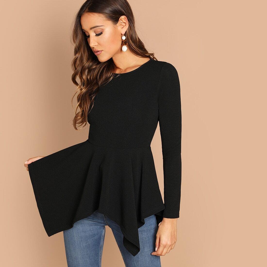 Zwart Elegant Vlak T-shirts Asymmetrisch