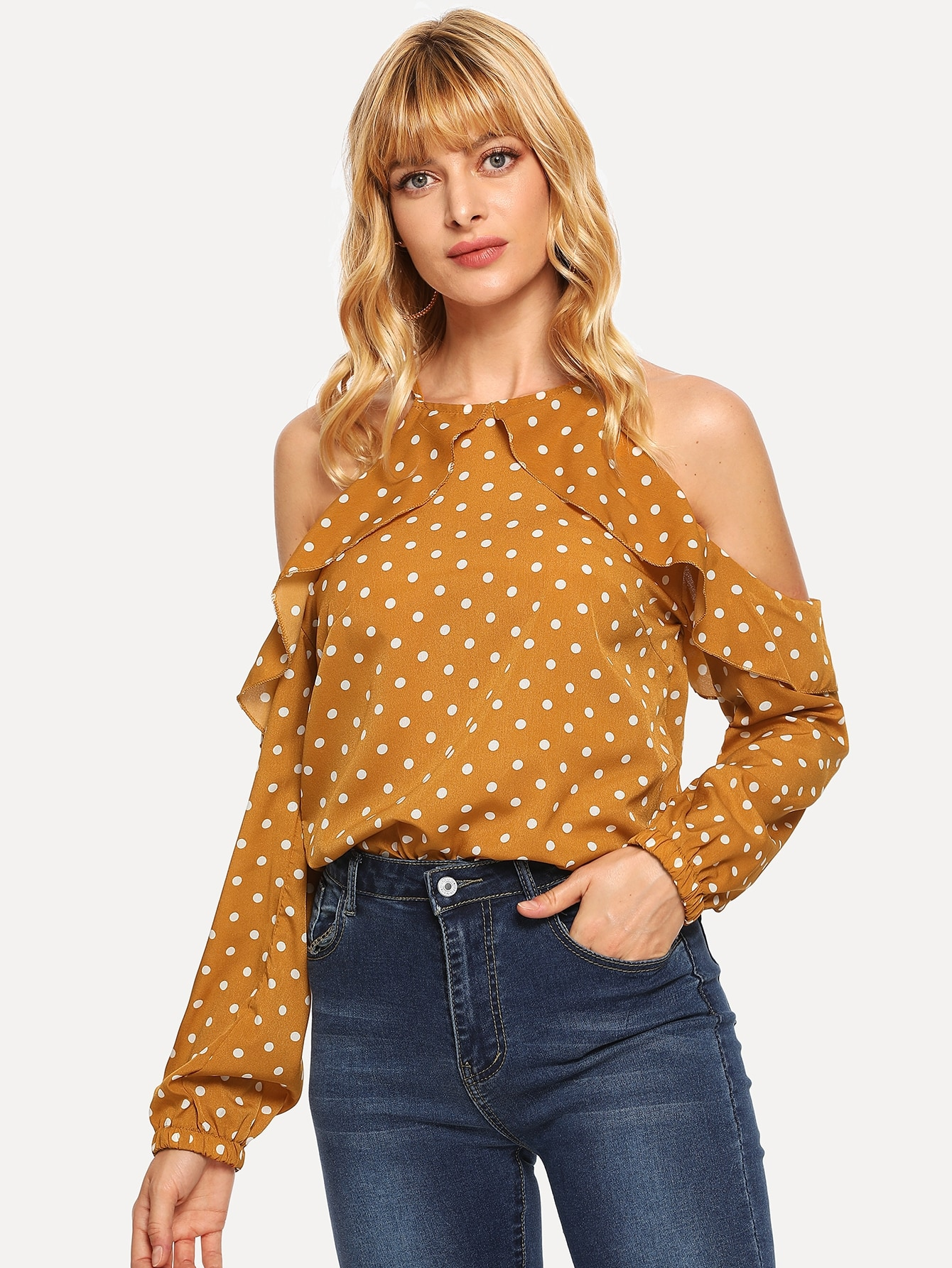 Купить Блуза в горошек с кружевными оборками и открытыми плечами, Masha, SheIn