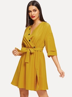 Waist Belted Button V-Neck Dress