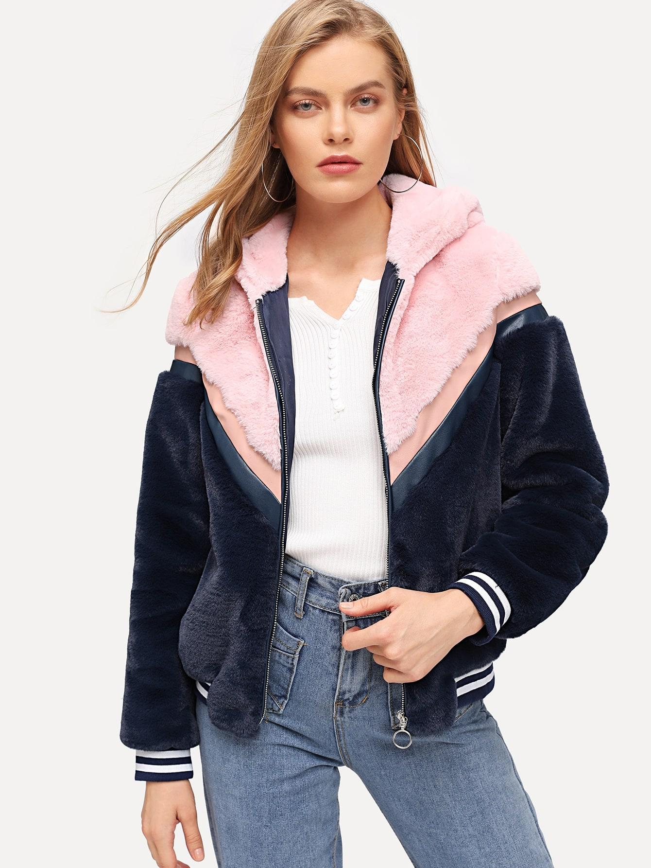 Купить Контрастное пальто Teddy с капюшоном и застёжкой молния, Kate C, SheIn