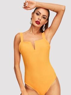 V Cut Front Form Fitting Bodysuit