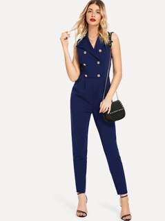 Double Breasted Pleated Solid Jumpsuit