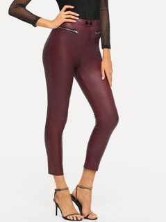 Exposed Zip Detail Coated Skinny Pants
