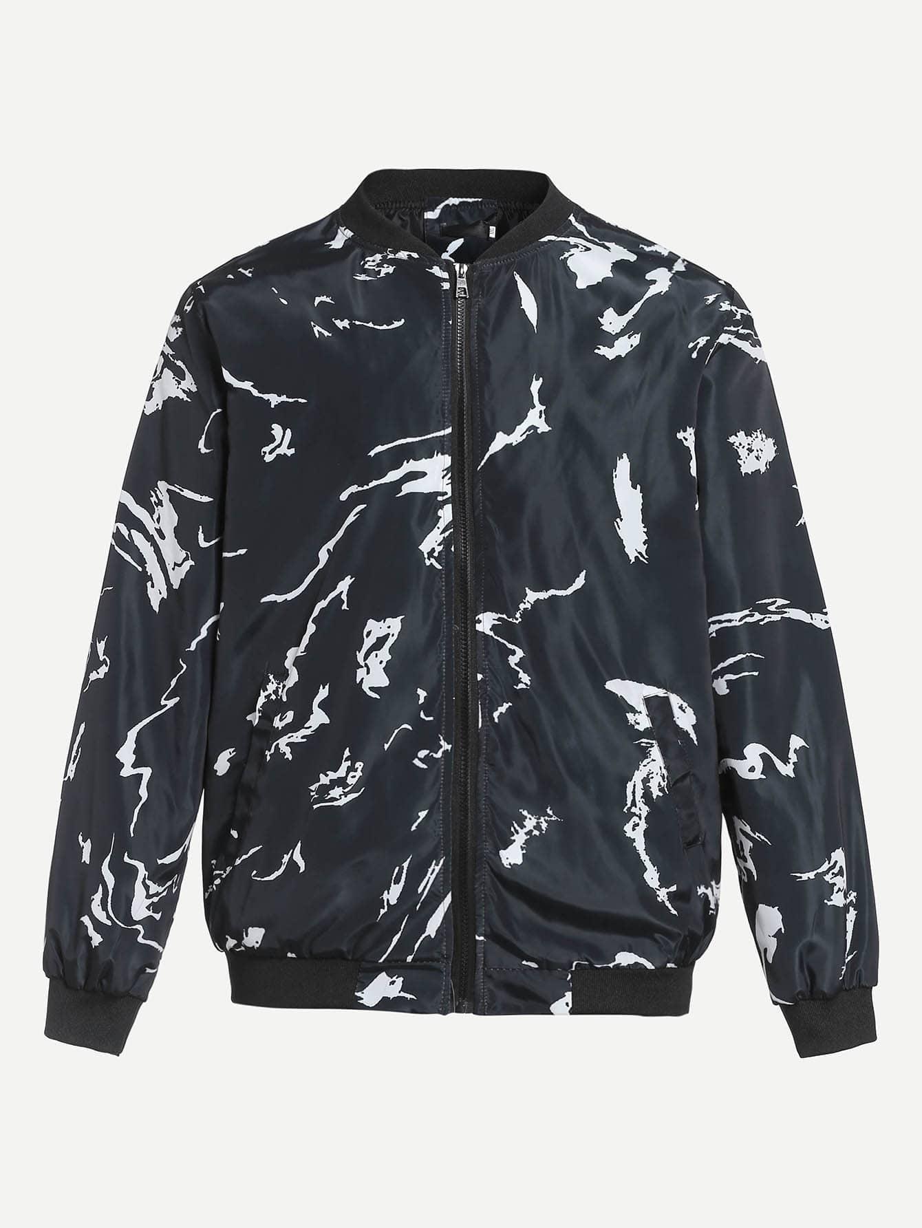 Купить Мужская куртка на молнии с принтом, null, SheIn