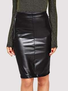 Zip Detail Split Back Coated Pencil Skirt