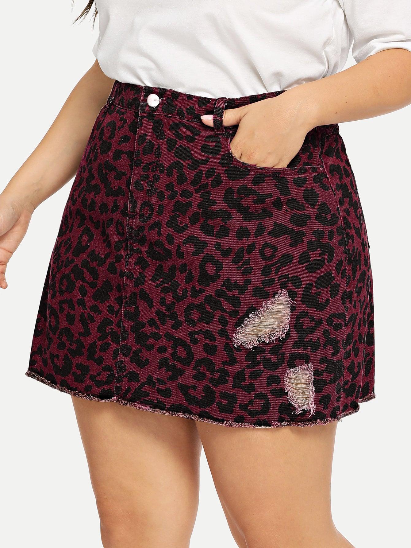 Купить Леопардовая рваная джинсовая юбка с необработанным низом размера плюс, Franziska, SheIn